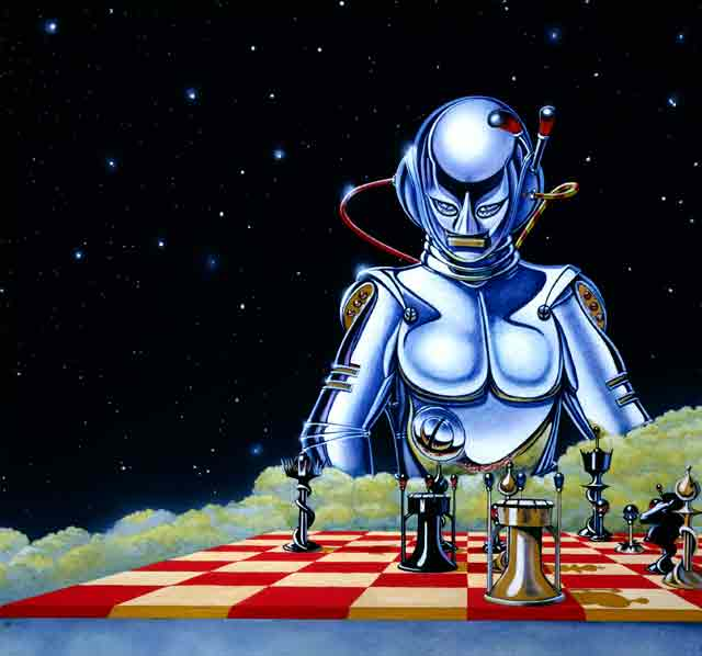 The Chessplayer was David Rowe's first computer game cover and was painted in 1982. It was developed for the Sinclair Spectrum